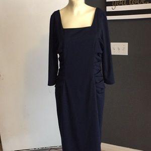 David meister Navy blue pencil dress ruch side 10